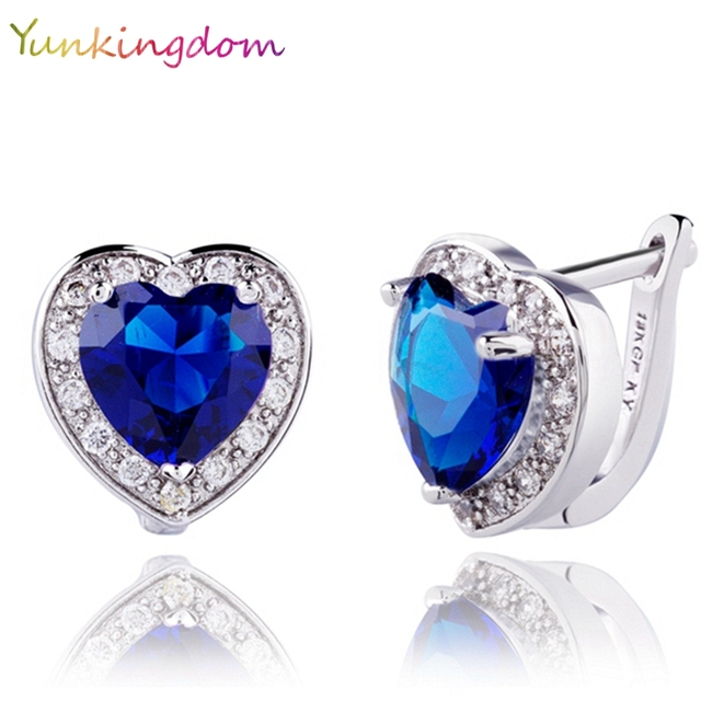 Yunkingdom Heart Design Jewelry New White Gold Color Cubic Zirconia 2017 Hoop Earrings For Woman