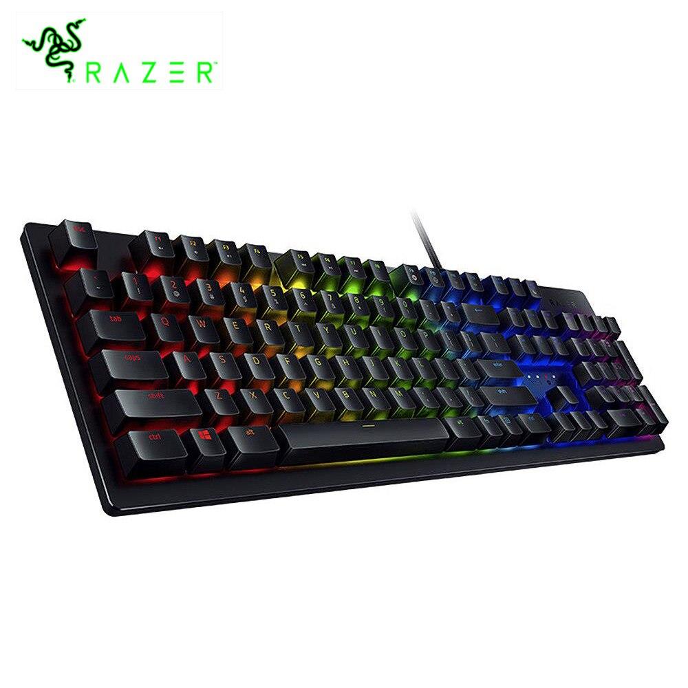 Razer Huntsman commutateurs mécaniques filaires clavier de jeu rvb rétro-éclairé ergonomique repose-poignet Tactile clavier de jeu pour ordinateur portable/PC