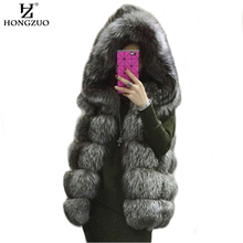 [HONGZUO] Women Fur Vest Hooded Coat 2016 New Winter Thick Warm Faux Fox Fur Vest High imitation Fur Jacket PC225
