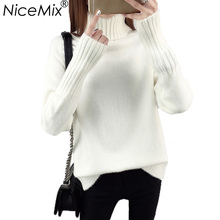 NiceMix 2017 Autumn Winter Thick Turtleneck Pullover Women Sweater Plus Size Casual Solid Knitted Sweaters Pullovers Femme