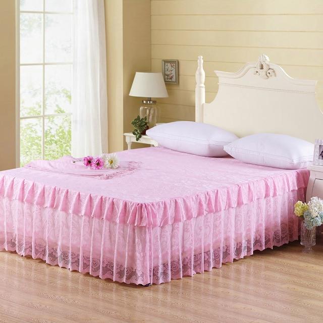 Falda de cama de encaje falda de cama de Reina falda de cama de color rosa venta 200x220ccm ropa de cama de una pieza textil para el hogar tamaño king envío gratis