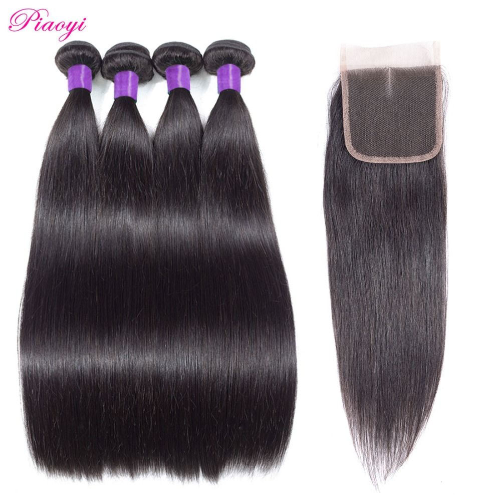 Peruvian Straight Hair 4 Bundles With Closure Natural Color Piaoyi Human Hair Weave Bundles With Lace Closure Middle Part Remy