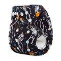1 unids de Halloween Imprime Pañal Del Bebé Pañales de Tela Reutilizables PUL Impermeable Invierno Recién Nacido Cubierta Doble Fila Encaje Pañales aio