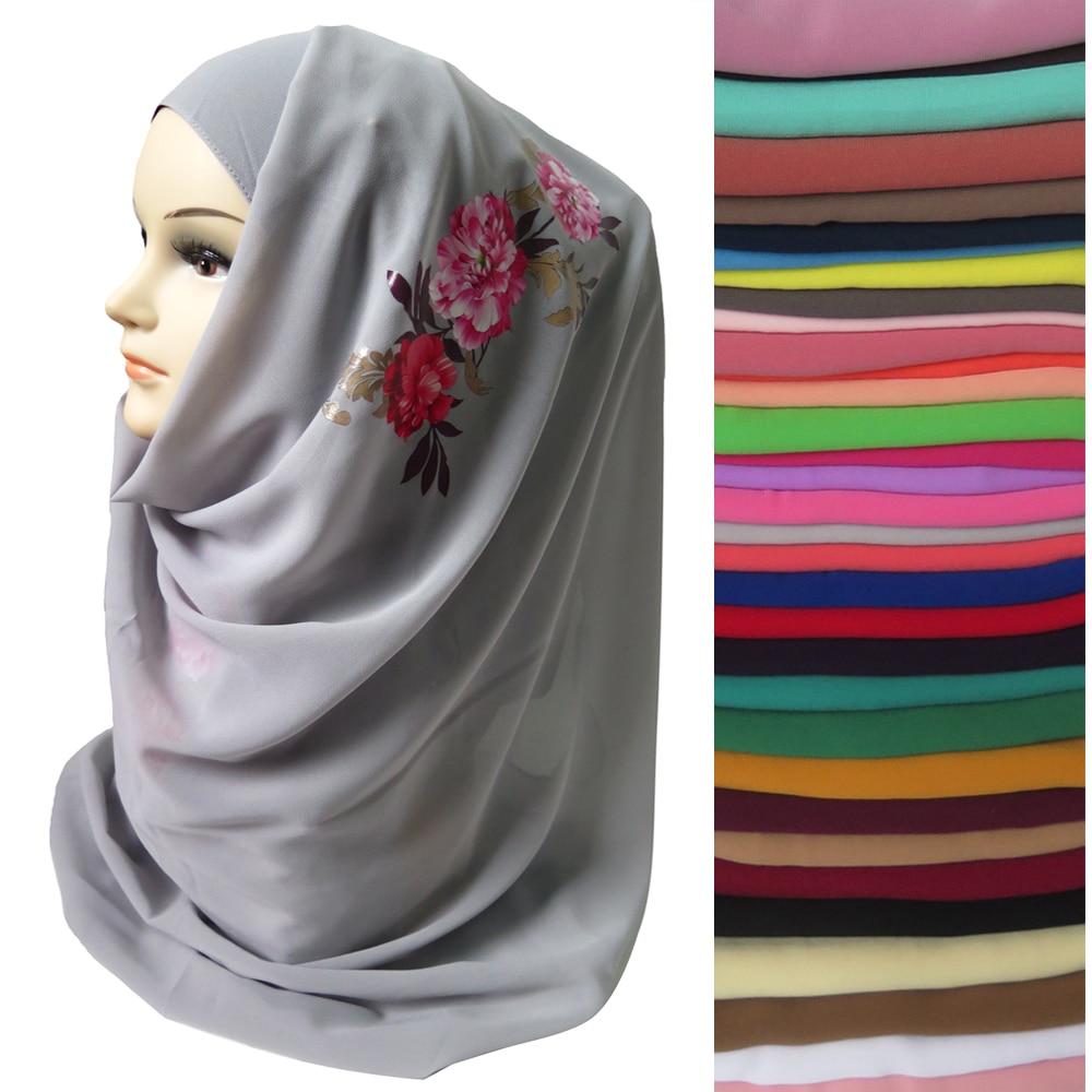 10pcs lot Floral Print Scarf Bubble Chiffon Muslim Womens Shawl Hijab Long Wrap Headband 180cm x