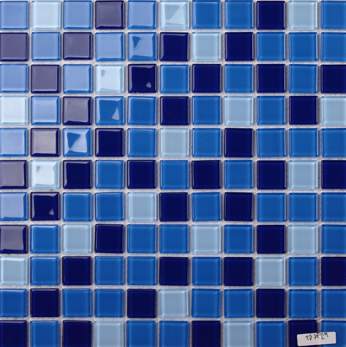 Free Shipping Crystal Glass Blend Blue Pool Mosaic Tile For Bathroom,wall,border,stairs,porch,kitchen  Wall In Wallpapers From Home Improvement On ...