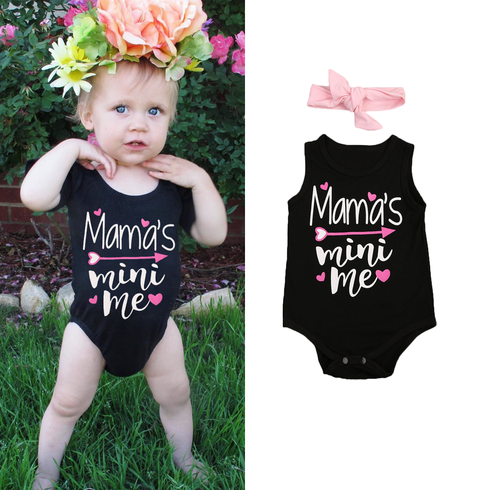 Newborn Baby Girl Clothes Sleeveless Letters Romper Jumpsuit Headband 2pcs Sunsuit Outfits Summer Infant Children Clothing 2