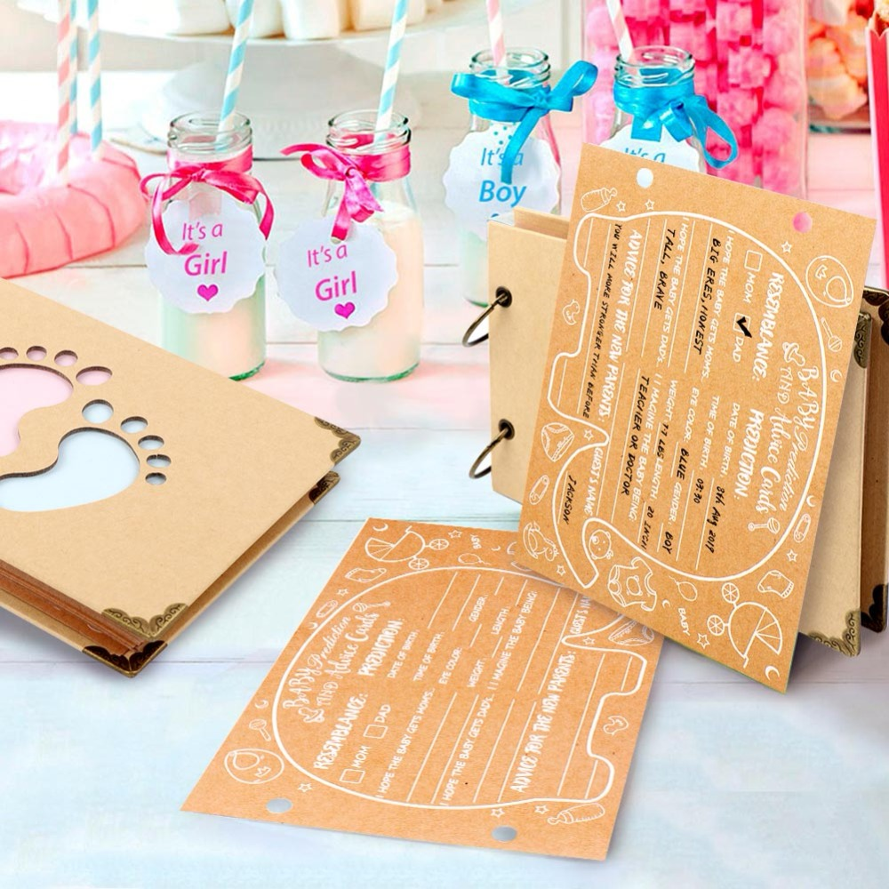 Image 5 - OurWarm Baby Shower Advice Cards Elephant Baby Shower Guest Book Sign in Book Birthday Guestbook Photo Ablums 19cm*14cm*2.1cm-in Party DIY Decorations from Home & Garden