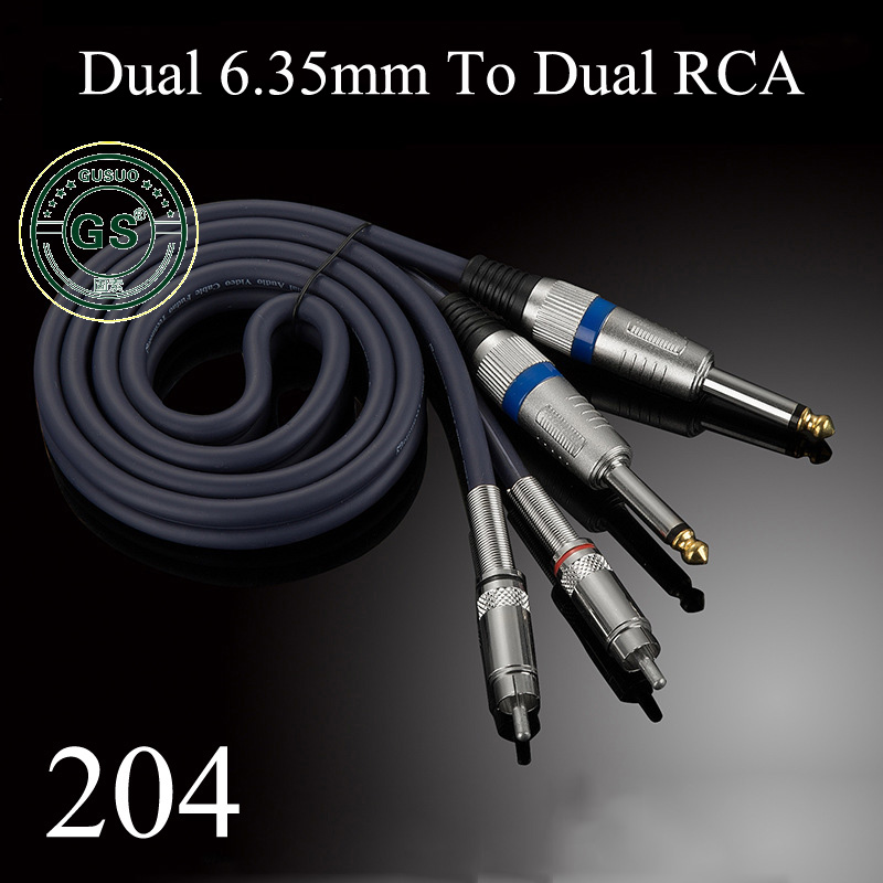 GUSUO Quality Dual RCA to 2x 6.35mm 1/4 Mono TS Plug Audiophile Audio Cable  for Mixer Amplifier 0.5M-30MGUSUO Quality Dual RCA to 2x 6.35mm 1/4 Mono TS Plug Audiophile Audio Cable  for Mixer Amplifier 0.5M-30M
