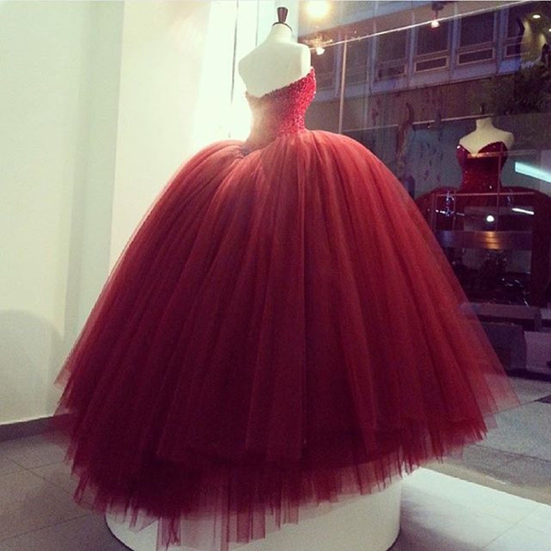 Burgundy Ball Gown Prom Dress