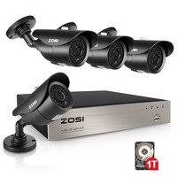 ZOSI 1TB 4CH 1080P HD TVI Security Camera CCTV System P2P IR Night Vision 4PCS 2