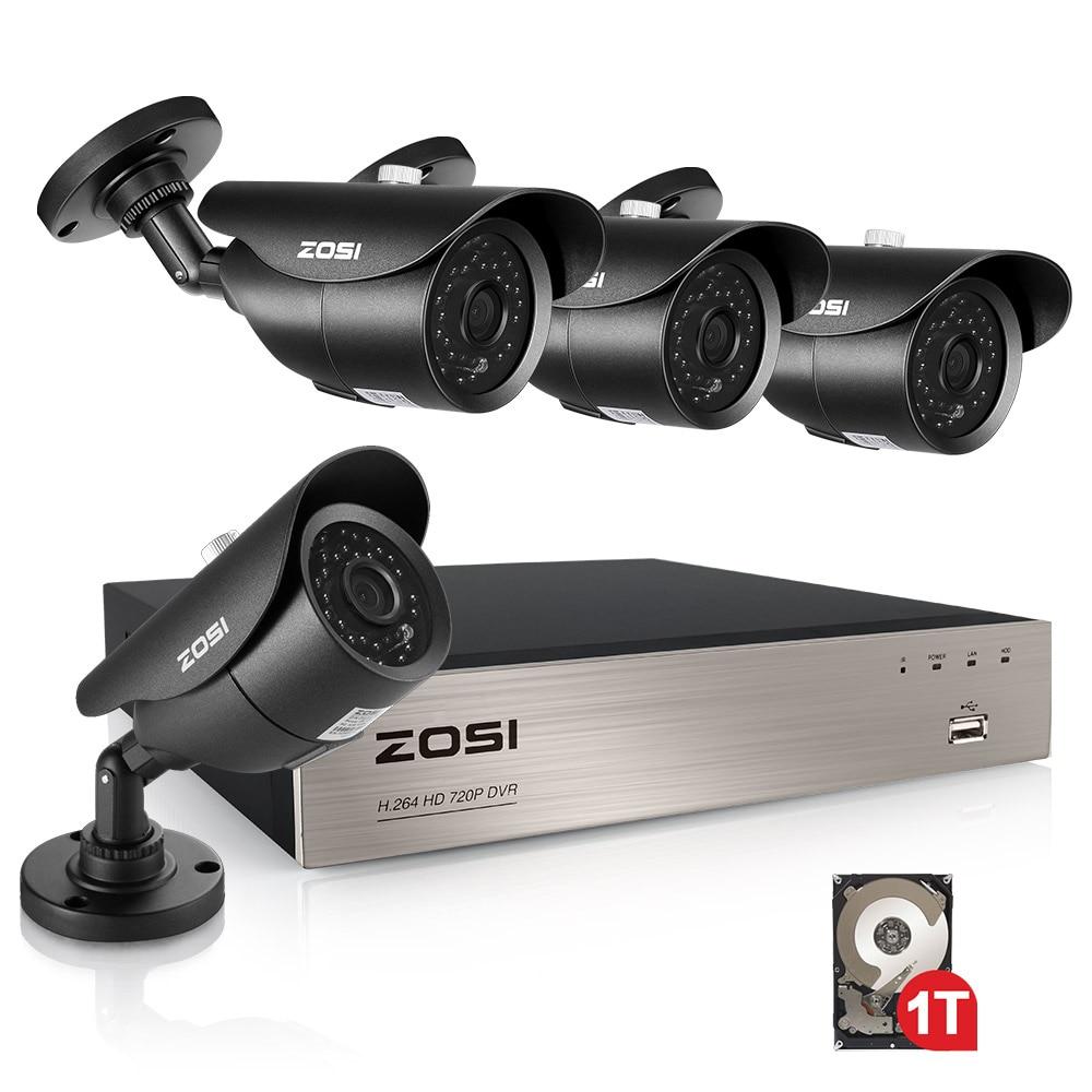 ZOSI 1TB 4CH 1080P HD-TVI Security Camera CCTV System P2P IR Night Vision 4PCS 2.0MP Outdoor HD Camera Surveillance Kit APP View