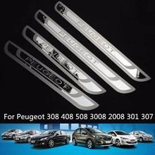 4 unids/set Placas Travesaño de La Puerta Del Coche para Peugeot 508 408 307 301 Estilo de Acero Inoxidable Travesaño de La Puerta Placa Del Desgaste para Peugeot 2010-2017