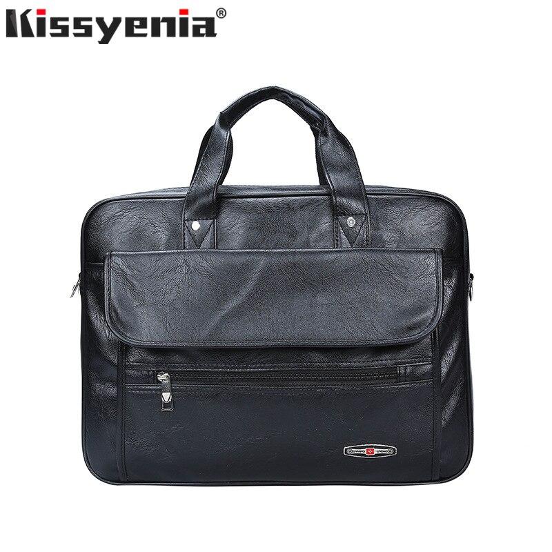 Kissyenia Brand PU Laptop Briefcase Men Bag Men's Briefcase Travel Suitcase Large Capacity Business Laptop Bolsa MasculinaKS1331
