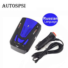 Autospsi Voice Alert Warning Car anti radar detector with LED display vehicle speed safety scan alarm system car laser Russian