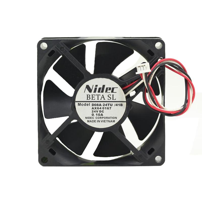 Nidec D08A-24TU /41B 80x80x25mm 8cm DC 24V 0.10A 3 Line Server Square Axial Cooling Fan