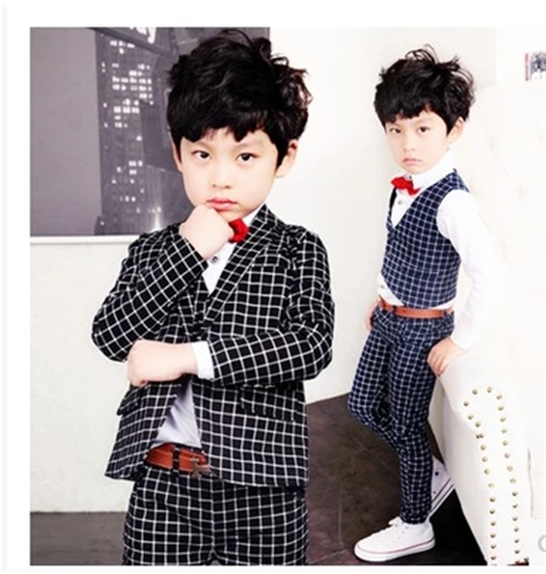 Fashion baby boys black and white casual blazers jacket boys suits for weddings formal flower boy clothing child kids prom suit high quality 2016 new arrival fashion baby boys kids blazers boy suit for weddings prom formal dark blue dress wedding boy suits
