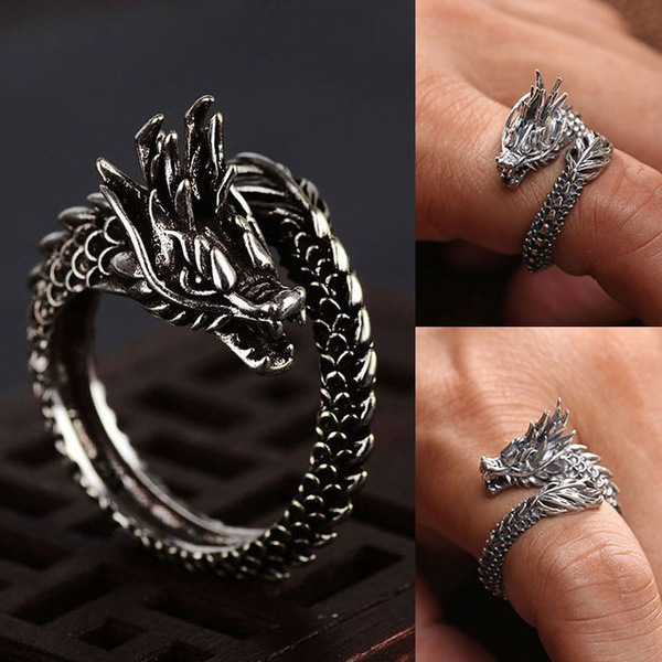 Retro S925 Silver Color Dragon Ring Men's And Women's Opening Ring Hip-hop Silver Obsidian Bizuteria Gemstone 2019 New Hot