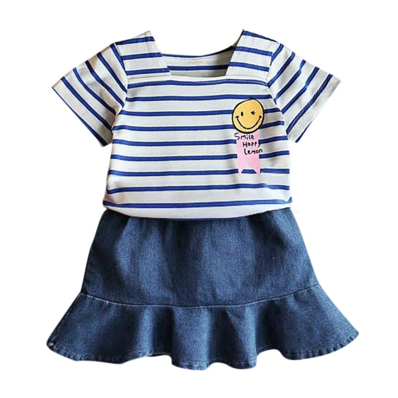 2pcs/set Summer Baby Girls Clothing Striped Top+Denim Skirt Outfits Kids Clothing Sets Children Clothing Set Comfortable