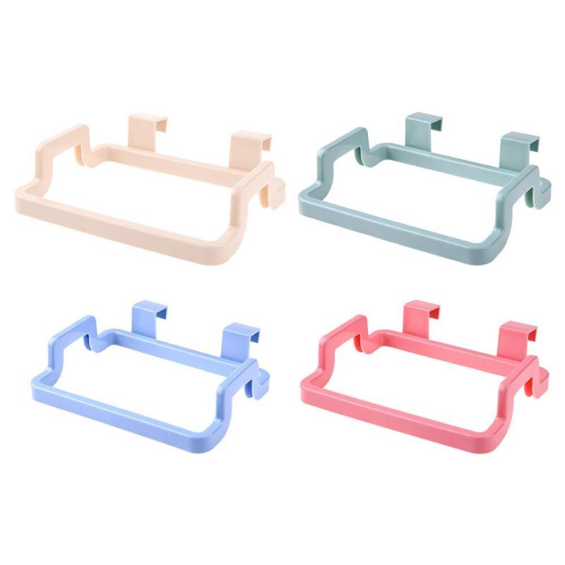 Multifunction Cupboard Door Back Trash Rack ABS Storage Garbage Bag Holder Hanging Kitchen Cabinets Storage Towel Shelf Holders
