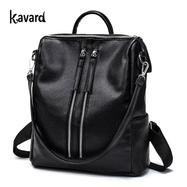 Famous Brand Backpacks Women Backpack Black Leather School Bags for Girls Preppy Zipper Softback Designer Woman Backpack 2016
