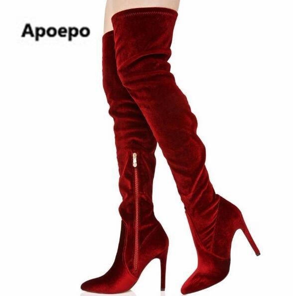 Apoepo  botas de mujer sexy pointed toe women boots high heels thigh high boots Red wine female footwear botas femininas choudory bota feminina round toe thigh high botas femininas de inverno casual stretch fabric knitting women shoes free shipping