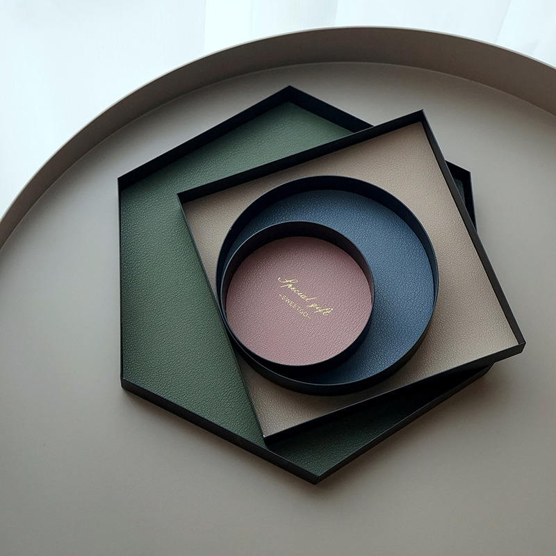 Plateau de rangement en cuir Pu bijoux plaque d'affichage collier anneau boucles d'oreilles plateau cosmétique décoration organisateur