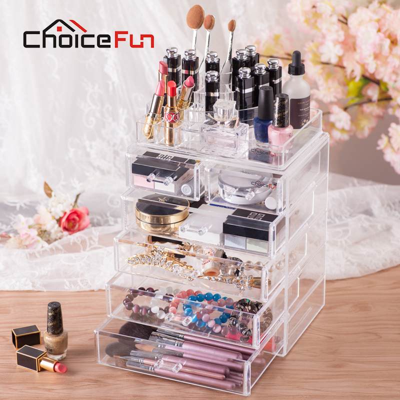 CHOICE FUN Luxury Large Makeup Storage <font><b>Drawer</b></font> <font><b>Acrylic</b></font> Cosmetics <font><b>Organizer</b></font> Clear Detachable Storage Box Lipstick Holder SF-1543-6 image