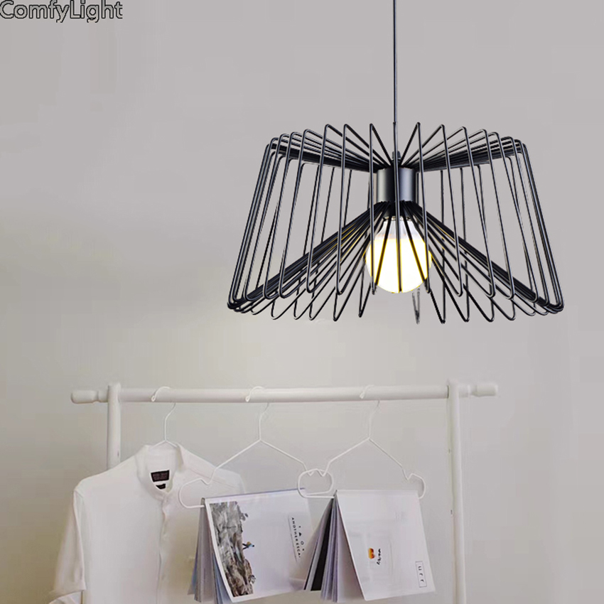 Retro indoor lighting Vintage pendant light LED lights minimalist retro iron cage lampshade warehouse style light fixture