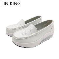 LIN KING Sprin Autumn Pu Leather Women Swing Shoes Breathable Wedges Lazy Shoes Shallow Mouth Height