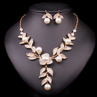 Trendy Indian Jewellery Wedding Party Accessories Gold Silver Bridal Necklace Earrings Pearl Jewelry Set For Brides