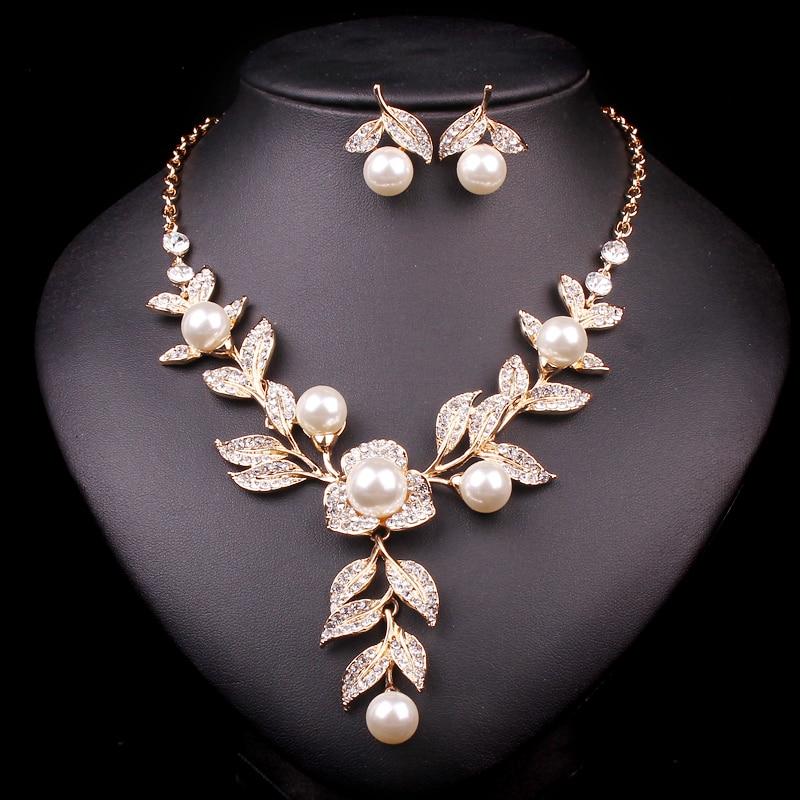 Nieuwe mode gouden kleur bruids ketting en oorbellen imitatie parel - Mode-sieraden