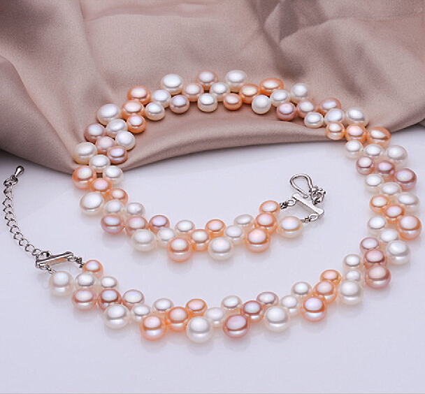 New Multilayer Pearl Necklaces Multicolor Choker Fashion Jewelry Wedding Necklace Bridal Genuine Short In From