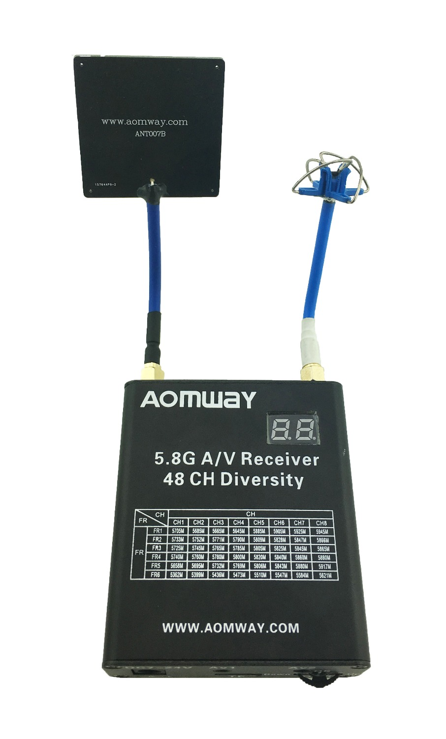 Aomway 5.8G 48CH Audio Video AV 5.8G Dual Receiver DVR Diversity Double RX With 6dbi Antenna Pancel For Multicopter Photography