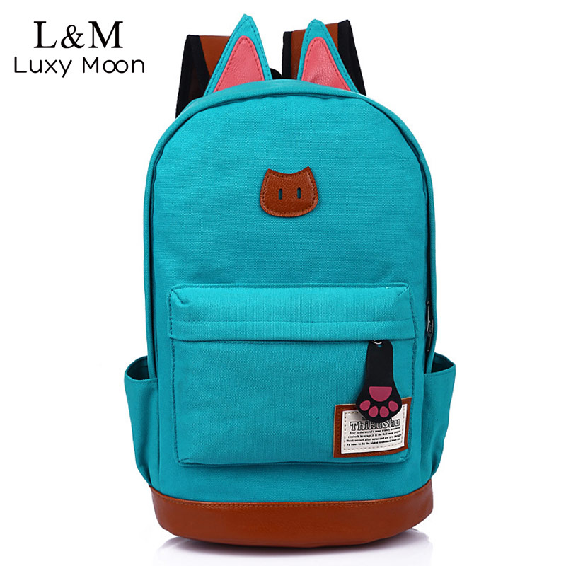 Canvas Backpack Travel-Bags School-Bag Teenage Candy-Color Girls Casual Women Cute
