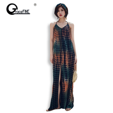 5942de8dc Summer Women Maxi Dress Loose Sexy Halter Party Dresses Women High Split  Dress Festa Female Long