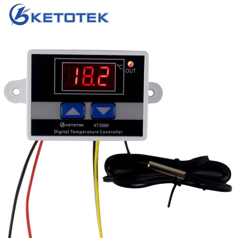 -50~110C Intelligent Digital Thermostat AC 220V 12V 24V 10A Digital Temperature Controller Regulator Switch 220v digital led temperature controller 10a thermostat control switch probe measurement range 50 110c