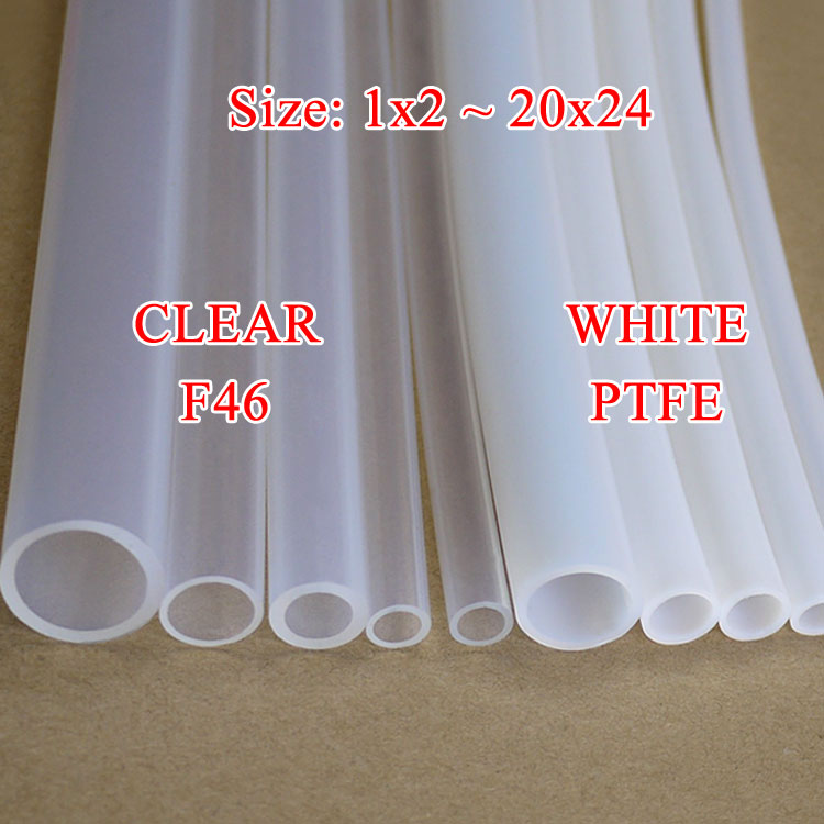 White Clear ID 8mm x 10mm OD F46 Insulated PTFE Tube Capillary Teflon Protect Rigid Pipe Temperature Corrosion Resistance 600VWhite Clear ID 8mm x 10mm OD F46 Insulated PTFE Tube Capillary Teflon Protect Rigid Pipe Temperature Corrosion Resistance 600V