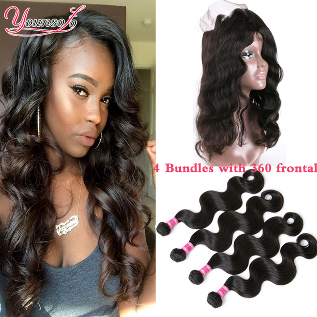 360 Lace Frontal With Bundle Indian Body Wave Virgin Human Hair 4 Bundles With Frontal Closure 360 Lace Virgin Hair With Bundles