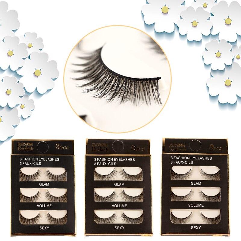 ROSALIND Eyelash Extension Makeup Natural 3Pairs Long False Eyeslashe For Eyes Makeup Handmade Tool Strip Makeup 3D Mink Lashes
