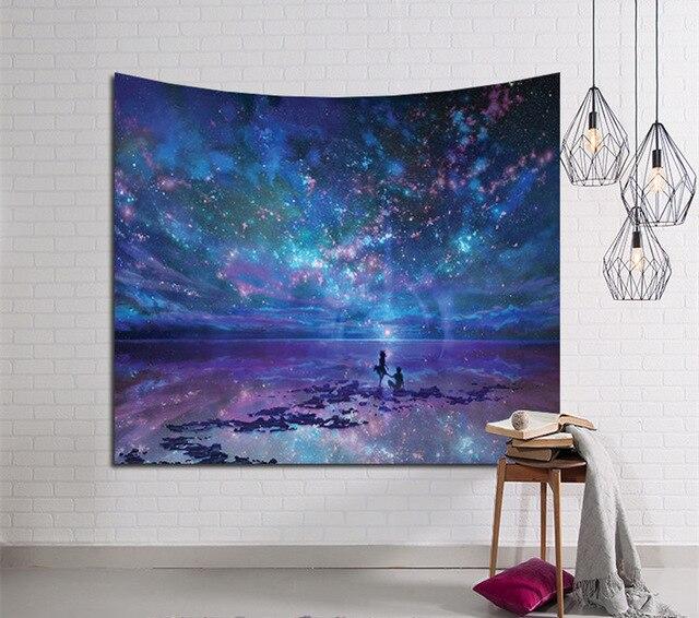 Galaxy Suspendus Mur Tapisserie Hippie Rétro Décor À La Maison De Yoga Natte De Plage 150x130 cm/150x100 cm
