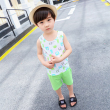 Baby short-sleeved suit baby summer suit boy's vest clothing cotton 0 two pieces 1 year old 2 tide стоимость
