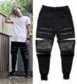 2016 de Alta calidad DIOS Yeezu Oeste Vintage calle Hip hop Hombres Pantalones largos de la cremallera Casual Jogger Danza Sportwear
