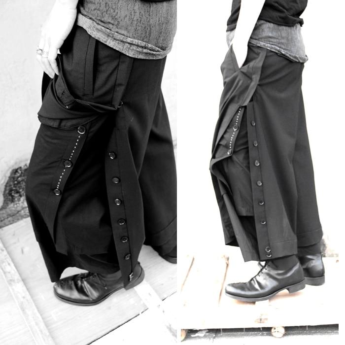 2018 Gd 46 Ancha De Personalidad Hombres Ropa Trajes Los Más Pantalones 27 Original Estilista Nuevo Moda Pierna Llegan Tamaño Negro Suelta rYFAr