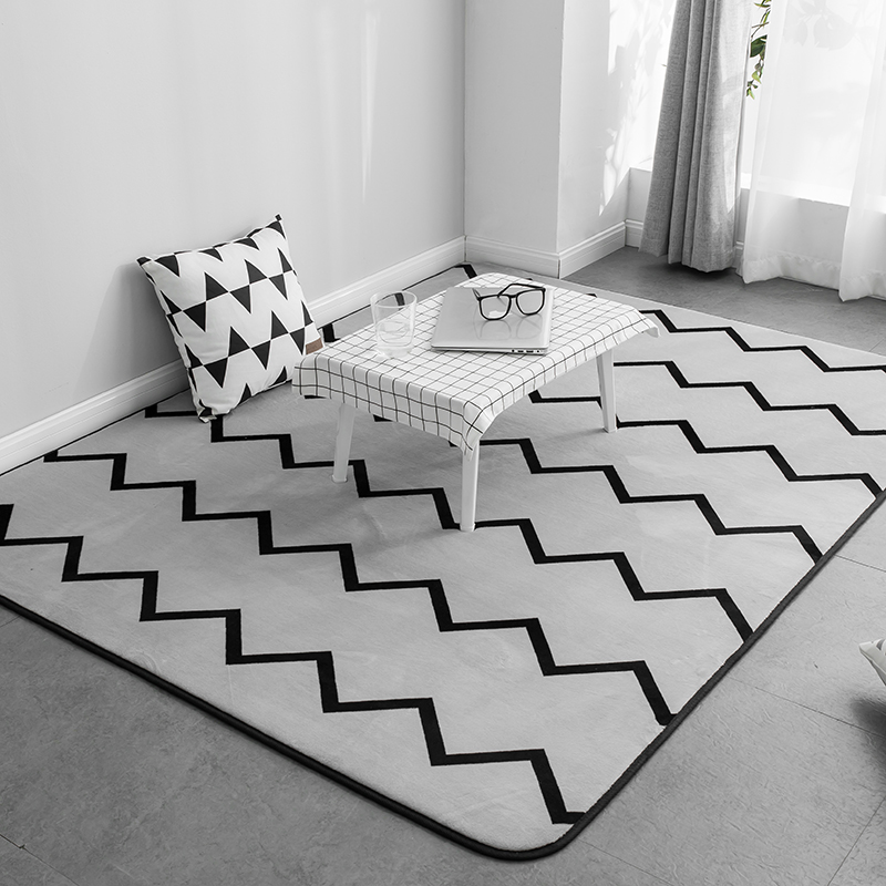 Fashion Simplicity Greyish Brief Black Zigzag Living Room Bedroom Short  Plush Decorative Carpet Area Rug Bathroom d2bce5f11c99f