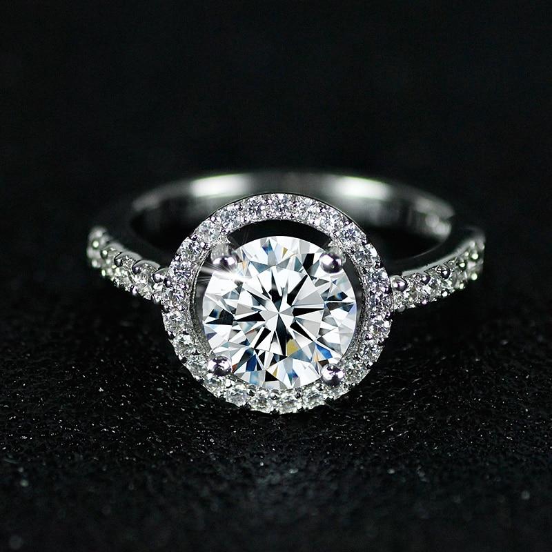 solid 925 Sterling Silver Halo Ring gul rosa för kvinnor Bröllop - Märkessmycken - Foto 4