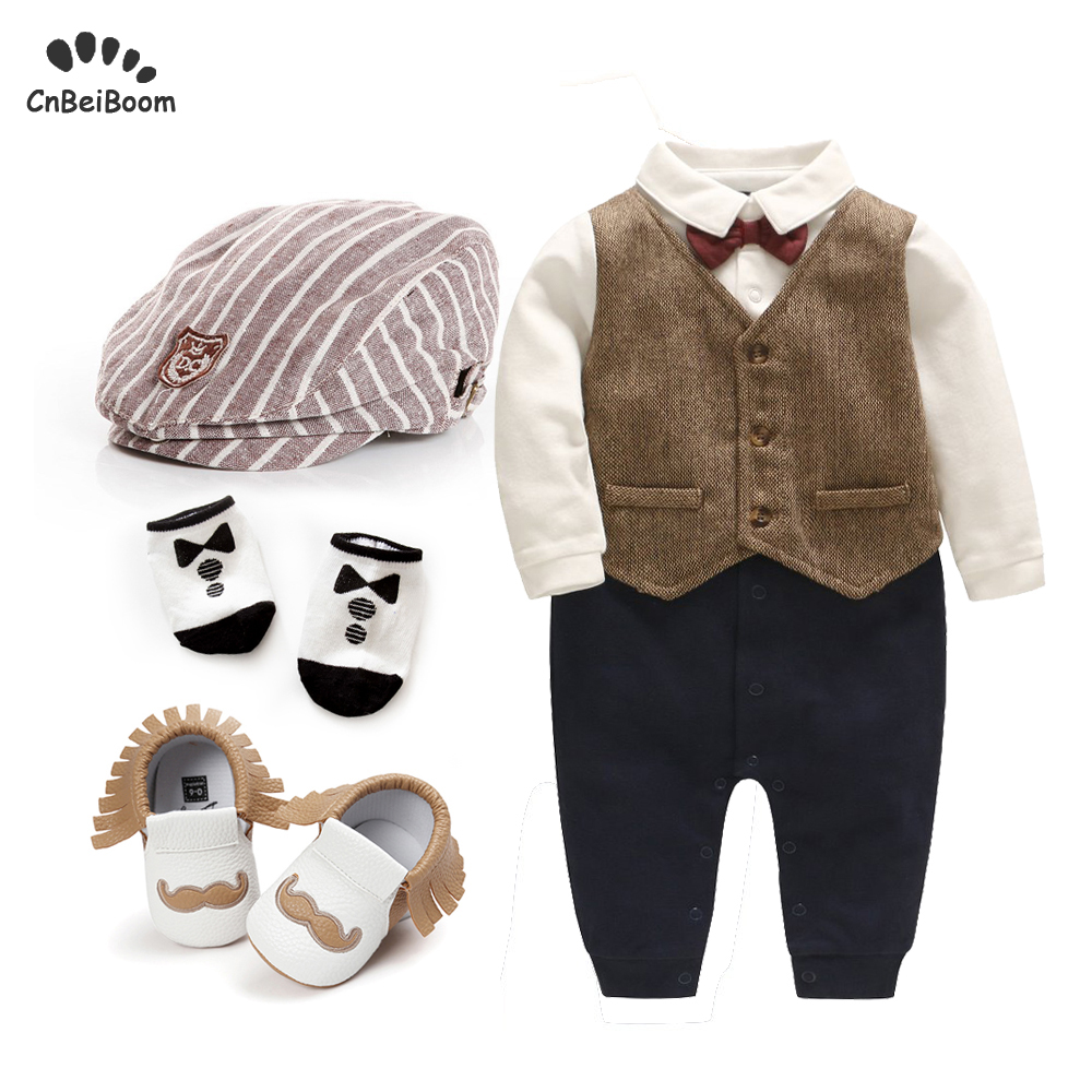 2019 new boys cotton romper sets boy tie bow vest rompers +hat+shoes+sock 4pcs clothing sets for newborn toddler boys 1 birthday2019 new boys cotton romper sets boy tie bow vest rompers +hat+shoes+sock 4pcs clothing sets for newborn toddler boys 1 birthday