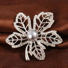 New Ladies Jewelry Brooch Imitation Pearl Leaf Brooch Exquisite Gift rhinestone artificial pearl leaf brooch
