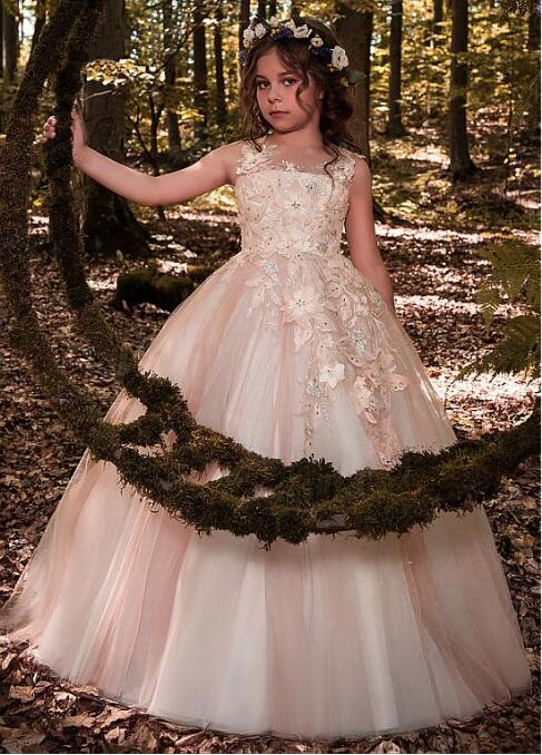 Glamorous Tulle Scoop Neckline Floor-length Ball Gown Flower Girl Dresses With Lace Appliques 3D Flowers Beadings недорго, оригинальная цена