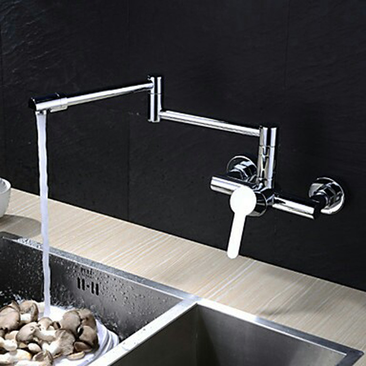 Basin/Kitchen/Bathroom Faucet Chrome Wall Mount Folding Stretchy Kitchen Faucets Single Cold WaterBasin/Kitchen/Bathroom Faucet Chrome Wall Mount Folding Stretchy Kitchen Faucets Single Cold Water