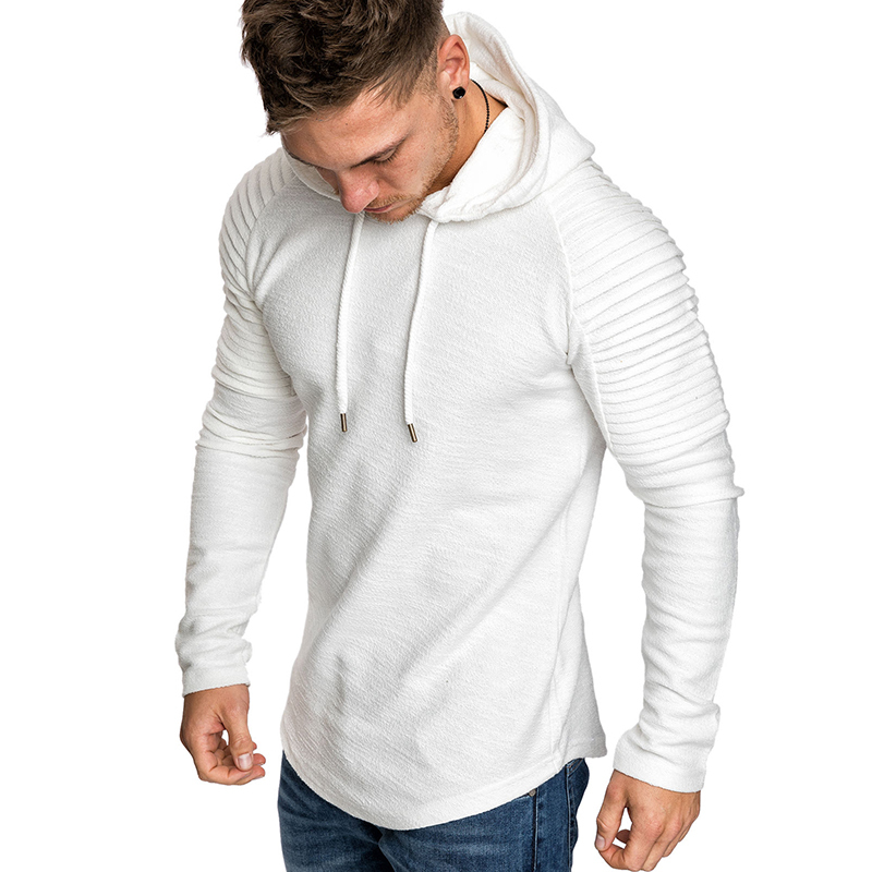 GustOmerD New Hoodies Man s Solid Color Slim Fit High Street Hooded Sweatshirt Stripe Fold Sportswear